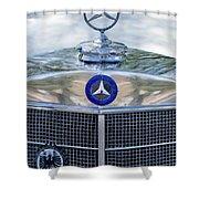 Mercedes-benz Hood Ornament Shower Curtain by Jill Reger