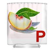 P Art Alphabet For Kids Room Shower Curtain by Irina Sztukowski