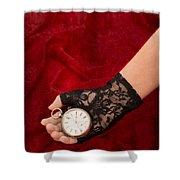 Pocket Watch Shower Curtain by Amanda Elwell