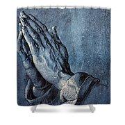 Praying Hands Shower Curtain by Albrecht Durer