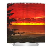 Red Pacific Shower Curtain by Robert Bales