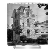 Route 66 - Macoupin County Jail Shower Curtain by Frank Romeo