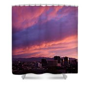 Salt Lake City Sunset Shower Curtain by Rona Black