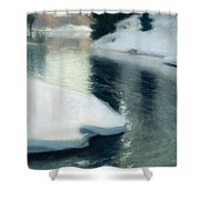 Spring Thaw Shower Curtain by Fritz Thaulow