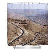 The Kings Highway At Wadi Mujib Jordan Shower Curtain by Robert Preston