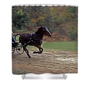 THE RACE IS ON Shower Curtain by Skip Willits