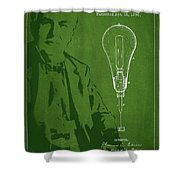 Thomas Edison Incandescent Lamp Patent Drawing From 1890 Shower Curtain by Aged Pixel