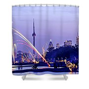 Toronto fireworks Shower Curtain by Elena Elisseeva
