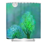 unbordered DREAM TREES AT TWILIGHT Shower Curtain by Mathilde Vhargon