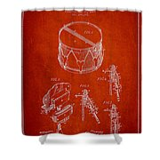 Vintage Snare Drum Patent Drawing From 1889 - Red Shower Curtain by Aged Pixel