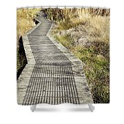 Wetland Walk Shower Curtain by Les Cunliffe