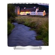 White Barn Shower Curtain by Brian Jannsen