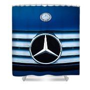 2003 Cl Mercedes Hood Ornament And Emblem Shower Curtain by Jill Reger
