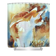 2004 Cat on the Prowl  I  Shower Curtain by Kathy Braud