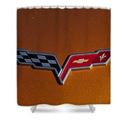 2007 Chevrolet Corvette Indy Pace Car Emblem Shower Curtain by Jill Reger