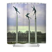 3 Angels Statue Philadelphia Shower Curtain by Bill Cannon