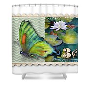 3 Cent Butterfly Stamp Shower Curtain by Amy Kirkpatrick