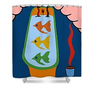 3 Fish In A Tub Shower Curtain by Patrick J Murphy