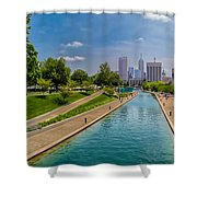 Indianapolis Skyline From The Canal Shower Curtain by Ron Pate