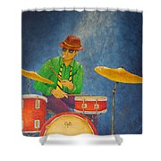 Jazz Drummer Shower Curtain by Pamela Allegretto