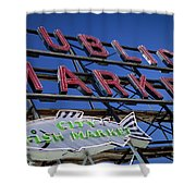 Seattle Market Sign Shower Curtain by Brian Jannsen