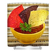 Tortilla Chips And Salsa Shower Curtain by Elena Elisseeva