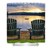 Wooden Chairs At Sunset On Beach Shower Curtain by Elena Elisseeva