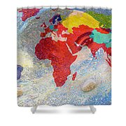 World Map And Barack Obama Stars Shower Curtain by Augusta Stylianou