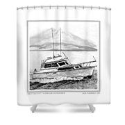 32 Foot Pacemaker Sportsfisher Shower Curtain by Jack Pumphrey
