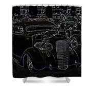35 Ford Coupe Neon Glow Shower Curtain by Steve McKinzie