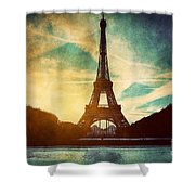 Eiffel Tower In Paris Fance In Retro Style Shower Curtain by Michal Bednarek