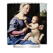Madonna And Child Shower Curtain by Il Sassoferrato
