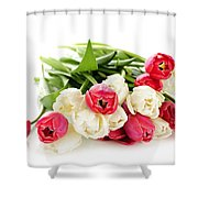 Red And White Tulips Shower Curtain by Elena Elisseeva