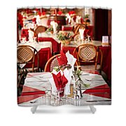 Restaurant Patio In France Shower Curtain by Elena Elisseeva