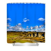 #18 At Chambers Bay Golf Course  Shower Curtain by David Patterson