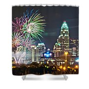 4th Of July Firework Over Charlotte Skyline Shower Curtain by Alex Grichenko