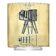 Photographic Camera Patent Drawing from 1885 Shower Curtain by Aged Pixel