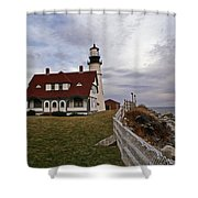PORTLAND HEAD LIGHTHOUSE Shower Curtain by Skip Willits