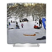 Snowboarding  in Central Park  2011 Shower Curtain by Madeline Ellis