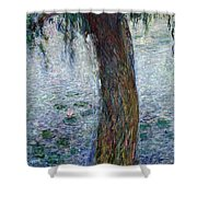 Waterlilies Morning with Weeping Willows Shower Curtain by Claude Monet