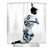 56 Joe Dimaggio Shower Curtain by Iconic Images Art Gallery David Pucciarelli
