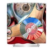 1960 Chevrolet Corvette Steering Wheel Emblem Shower Curtain by Jill Reger