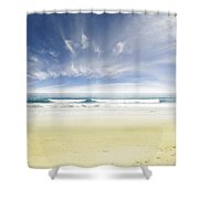 Beach Shower Curtain by Les Cunliffe