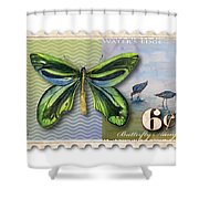 6 Cent Butterfly Stamp Shower Curtain by Amy Kirkpatrick