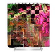 Abstract Checkered Pattern Fractal Flame Shower Curtain by Keith Webber Jr