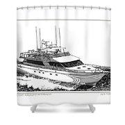 85 Foot Custom Nordlund Motoryacht Shower Curtain by Jack Pumphrey
