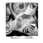 1960 Chevrolet Corvette Steering Wheel Emblem Shower Curtain by Jill Reger