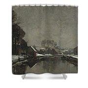 A Belgian Town In Winter Shower Curtain by Albert Baertsoen
