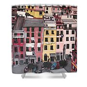A Bird's Eye View Of Cinque Terre Shower Curtain by Quin Sweetman