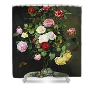 A Bouquet Of Roses In A Glass Vase By Wild Flowers On A Marble Table Shower Curtain by Otto Didrik Ottesen